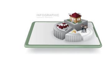 gráfico de pizza de moedas. modelo de infográficos de planejamento de economia de dinheiro. finanças e conceito de negócios. vetor