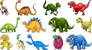 diferentes personagens de desenho animado de dinossauros e dragões de fantasia isolados vetor