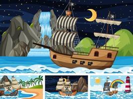 conjunto de cenas do oceano em momentos diferentes com o navio pirata em estilo cartoon vetor