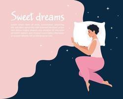 jovem dormindo. conceito de bons sonhos vetor