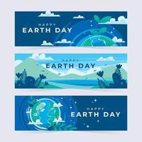 banners de belas paisagens do dia da terra vetor