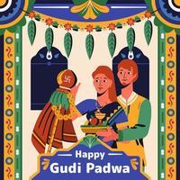 casal feliz gudi padwa com ornamento indiano vetor