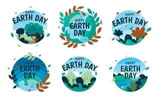 coleção de emblemas do dia da terra vetor