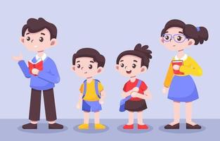 conjunto de personagens de professor e aluno vetor