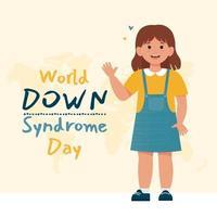 menina feliz com síndrome de down. dia mundial da síndrome de down. vetor