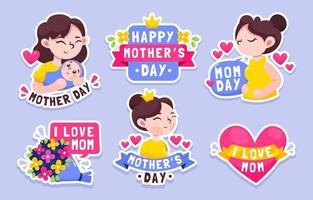 coleção de adesivos do dia das mães vetor