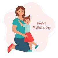 mãe com filha. cartão feliz dia das mães vetor