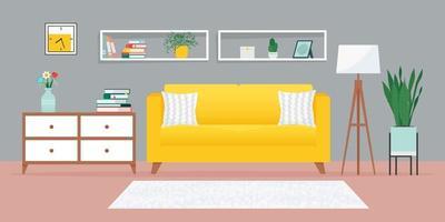 sala de estar aconchegante com sofá e outros móveis vetor
