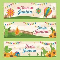 coleção de estandartes do festival feliz festa junina vetor