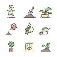 contorno conjunto de ícones de jardinagem vetor
