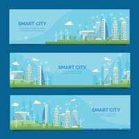coleção de banners da cidade inteligente vetor
