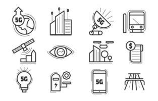 conjunto de ícones de cidade inteligente vetor