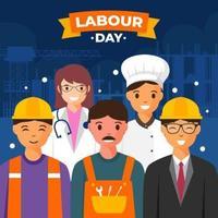 dia de trabalho com trabalhadores em seus campos vetor