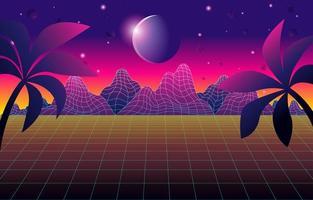 Fundo de montanhas futurismo retrô com cores gradientes vetor