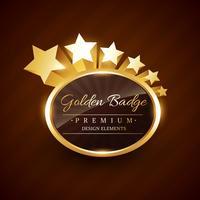rótulo premium distintivo dourado com estrelas fluindo vetor
