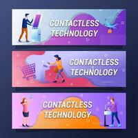 Conjunto de design de banner futurista com tecnologia sem contato