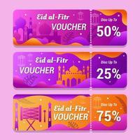 Conjunto de design de voucher de promoção eid al-fitr vetor