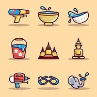 conjunto de adesivos de ícone de songkran vetor