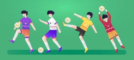 conjunto de personagens futebol esporte uefa vetor