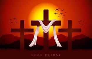 cruz cristã ao amanhecer panorâmica vetor