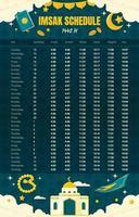 imsak e hora da oração ramadan 2021 calendário vetor