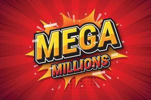 mega milhões, arte pop de expressão de fonte para design de apostas. ilustração vetorial vetor