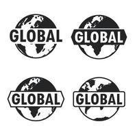 globo e ícone da terra com texto. design de sinal global. ilustração vetorial vetor