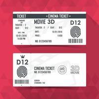 design de elemento moderno do cartão do bilhete do cinema. ilustração vetorial vetor