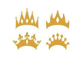 conjunto de vetor de ilustração de ícone de coroa