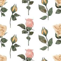 aquarela rosa botão floral sem costura padrão vetor