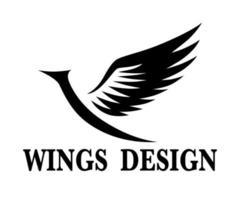 ilustração em vetor design de logotipo de asa de animal preto adequado para marca ou símbolo.