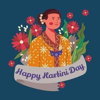 kartini, a heroína indonésia vestindo roupas de batique vetor