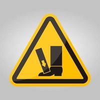 força de esmagamento do pé acima do símbolo do sinal, ilustração vetorial, isolado na etiqueta de fundo branco .eps10 vetor