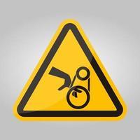 sinal de símbolo de acionamento por correia de emaranhamento de mão, ilustração vetorial, isolado na etiqueta de fundo branco .eps10 vetor
