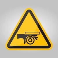 sinal de símbolo de ponto de esmagamento de rolo de esmagamento de mão, ilustração vetorial, isolado na etiqueta de fundo branco .eps10 vetor