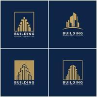 conjunto de construção de coleção construção de pacote de design de logotipo. cartões de visita premium, inspirando logotipos abstratos de construção de cidade modernos. vetor