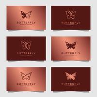 conjunto de modelo de design de logotipo de borboleta de luxo. ícone para logotipo feminino, spa de beleza, moda, cuidados com a pele, produto de loção. vetor