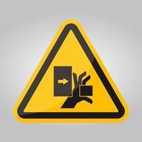 força de esmagamento de mão do sinal de símbolo esquerdo, ilustração vetorial, isolado na etiqueta de fundo branco .eps10 vetor