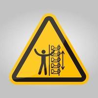 aviso baldes expostos e sinal de símbolo de peças móveis isolar em fundo branco, ilustração vetorial vetor