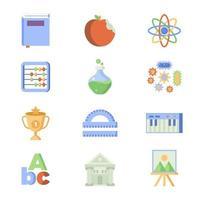 objetos e símbolos que representam a educação vetor