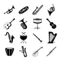 uma variedade de instrumentos musicais em um fundo branco - vetor