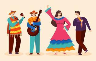 celebração do cinco de mayo com música e dança vetor