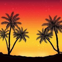 panorama noturno no fundo da praia com palmeiras vetor
