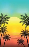 pôr do sol na praia com palmeiras vetor