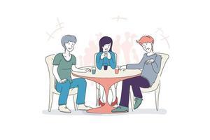 tempo casual para reunião de amigos, amigos desfrutando no refeitório, ilustração vetorial de desenho animado vetor