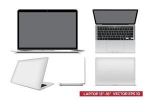 maquete de laptop com vista diferente frontal, lateral superior, 3d, ilustração vetorial realista para maquete gráfico, desenho arquitetônico em fundo branco. vetor