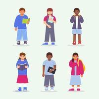 coleção de design de personagens infantis vetor