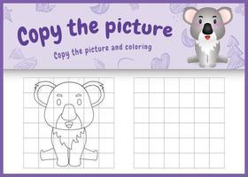 copie o jogo de crianças e a página para colorir com uma ilustração de um coala fofo vetor