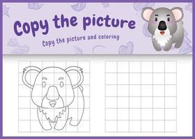 copie o jogo de crianças e a página para colorir com uma ilustração de um coala bonito vetor