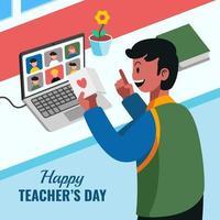 comemoração do dia do professor por videochamada online vetor